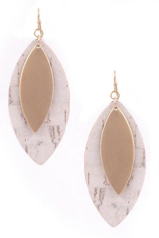 This Is My Now natural and white tear drop earrings