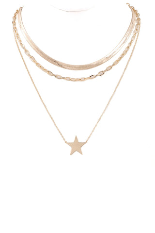 Take Me Home layered metal star pendant necklace