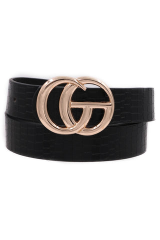 Good Things Faux Leather crocodile belt (Black)