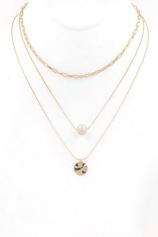 You and Me cream pearl layered necklace (Worn gold)