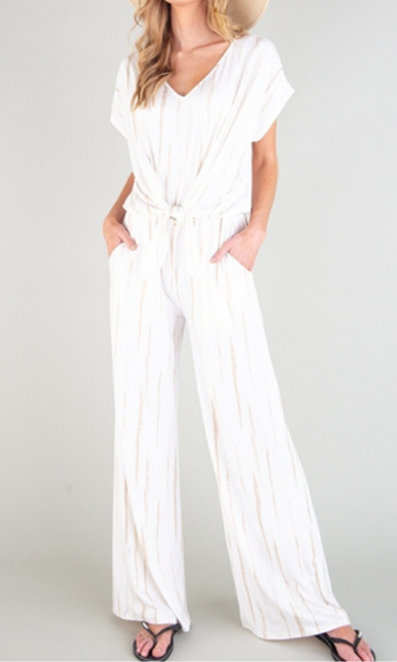 The Ashley ivory/tan tie dye tie front jumpsuit