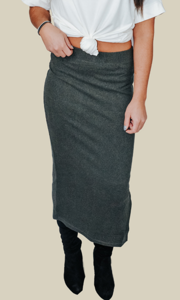 A Little Piece of Heaven long ribbed skirt with side slit (Grey)