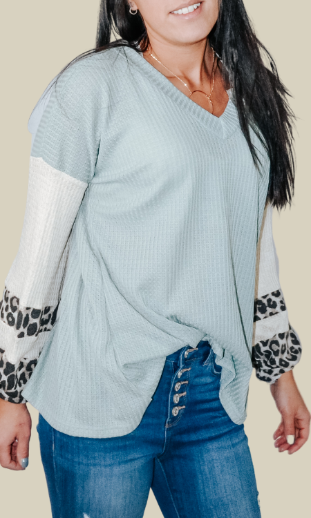 Forever Yours leopard print waffle knit top