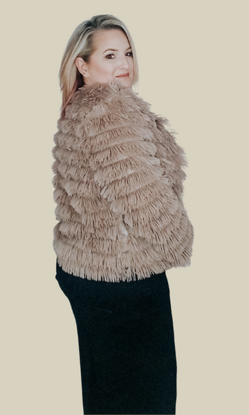 Listen to Your Heart long sleeve layered faux fur jacket