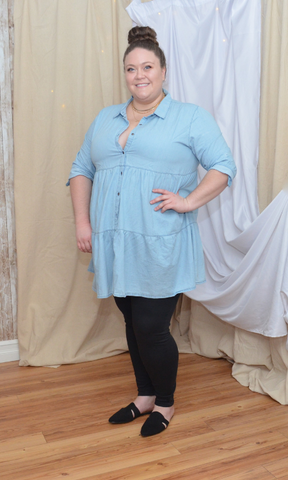 CURVY You're Mine Still button down tiered shirt dress (Light blue)