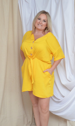 Amy button up romper (Yellow)