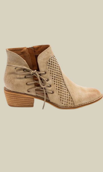 Not a Moment Too Soon bootie with faux lace up tie (Beige)