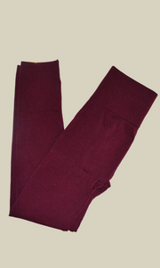 Sarah soft fleece lined leggings (Burgundy)