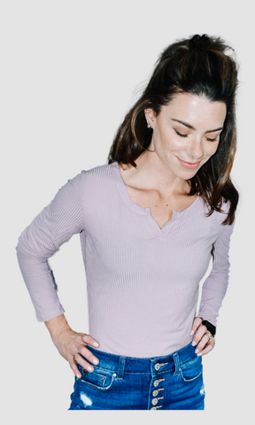 All I Need Is You placket neck long sleeve rib top (Mauve)