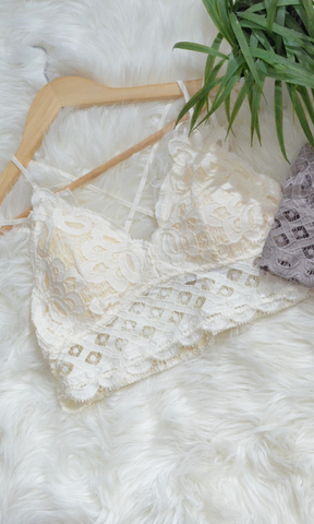 (XL & XXL Only) Adley crochet lace bralette (Cream)