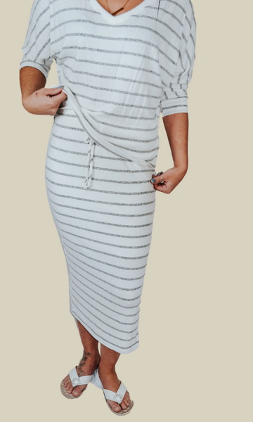 Endless Love lounge top and skirt set (Ivory/Gray)