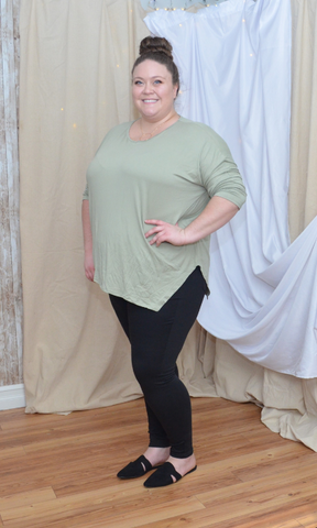 CURVY Girl Like Me dolman 3/4 sleeve asymmetrical top (Sage)
