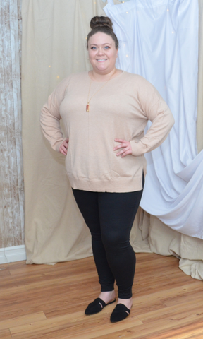 CURVY Perfectly perfect round neck soft touch sweater (Khaki)