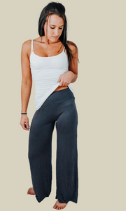 By the River wide leg elastic waist pant (Gray)