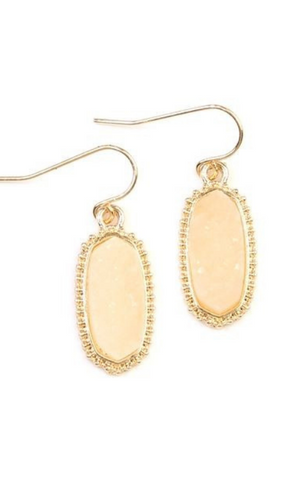 Toast of the Town druzy stone oval drop earrings (Gold/Ivory)