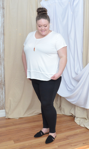 CURVY You Have Me round neck bottom layered hem top (White)