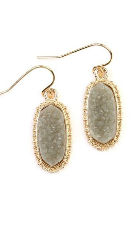 Toast of the Town druzy stone oval drop earrings (Gold/Grey)