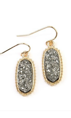 Toast of the Town druzy stone oval drop earrings (Gold/Silver)