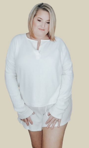 I Will Always Love You soft rib knit loungewear set (Ivory)