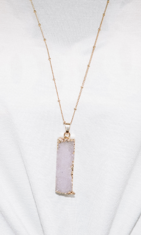 All I Want rectangle druzy necklace (Gold/White)