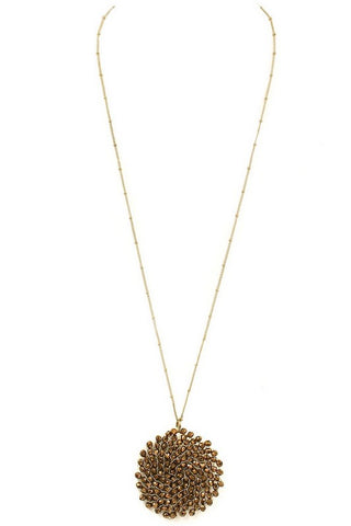 Top of the World long cluster necklace (Bronze)