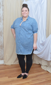 CURVY Show Me How To Live chambray denim shirt dress with fringe hem (Mid blue)