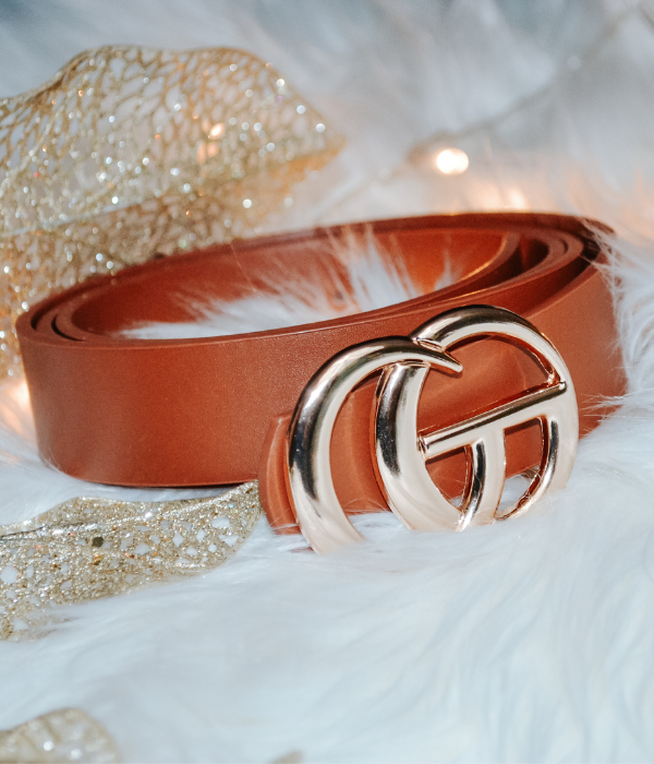 Good Things faux leather double metal ring belt (Camel)
