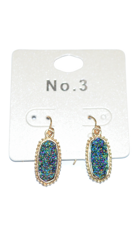 Toast of the Town druzy stone oval drop earrings (Gold/Emerald Green)