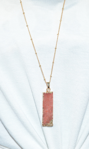 All I Want rectangle druzy necklace (Gold/Light Brown)