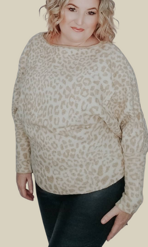 Cat's in the Cradle long bubble sleeve leopard print sweater