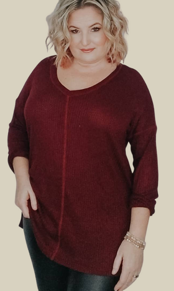 I'll Be There V neck waffle knit top (Berry)