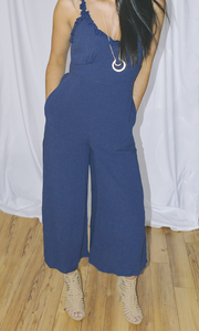 Because of You ruffle shoulder cropped jumpsuit (Navy Blue)
