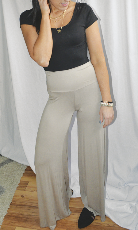 The Chloe high waisted wide leg pant (Taupe)
