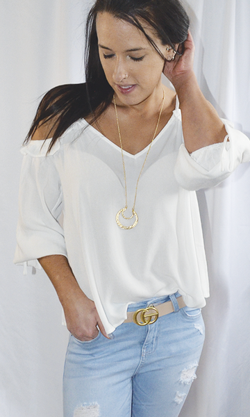 Stars In The Sky cold shoulder v neck bubble sleeve top (White)