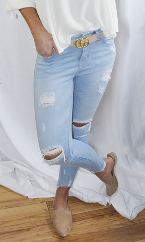 The Bella high rise 5 pocket ripped skinny jeans