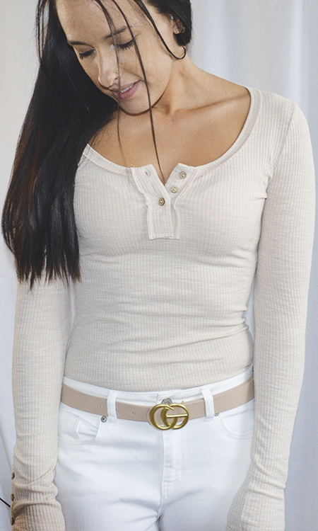 Oh Happy Day henley top (Beige)