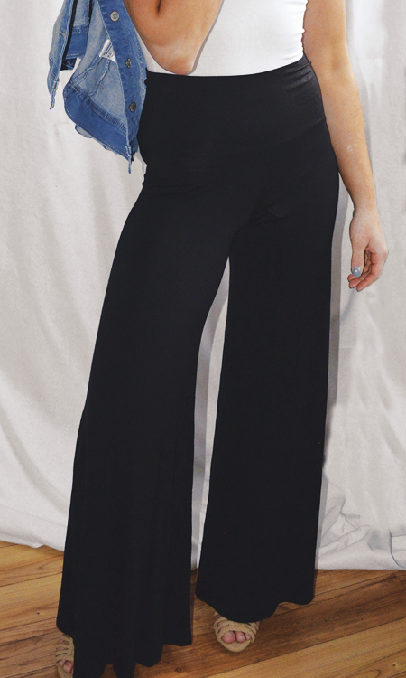 The Chloe high waisted wide leg pant (Black)