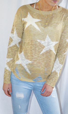 Move On Up destroyed star sweater (Taupe)