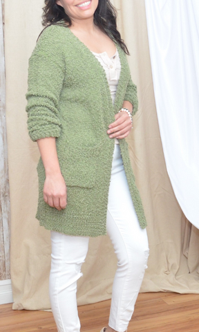 Above and Beyond popcorn open knit sweater cardigan (Light Olive)