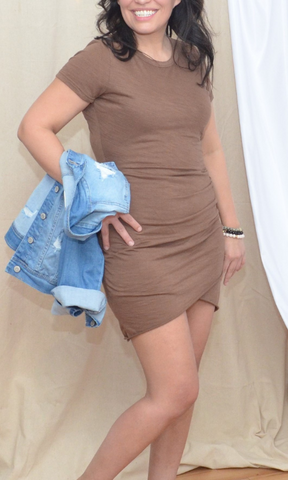 The Ensley ruched mini dress (Mocha)