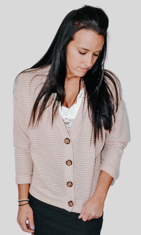 Just the Way You Are waffle knit button down dolman cardigan (Misty rose)