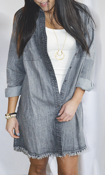 The Ryli denim shirt dress (Grey)