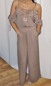 Higher Love cold shoulder jersey jumpsuit (Mocha)