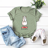 Summer Cotton T Shirt Women Plus Size 5XL White Tops Cute Cartoon Leisure Yoga Sheep Graphic Tees
