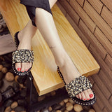 Women Casual Summer Flat Beach Slippers Female Crystal Rivets Slides Slipper Shoes For Girls Fashion Woman Leisure Footwear