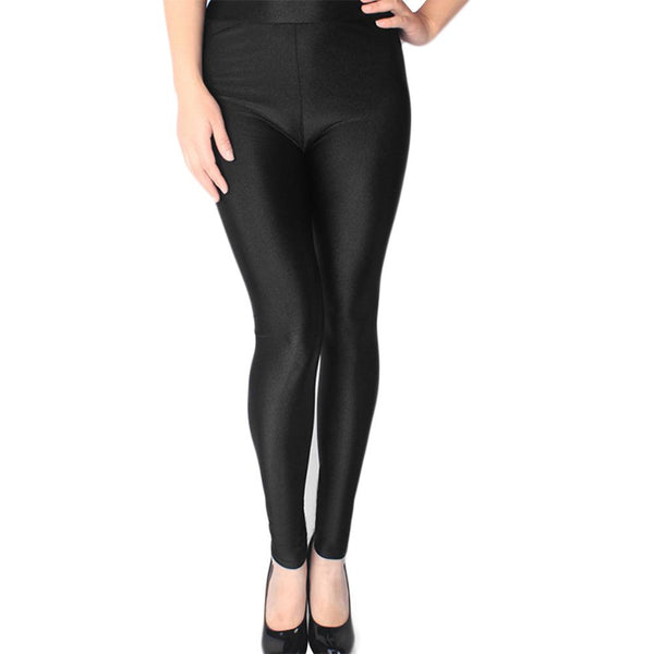 Women's Fashion Plus Size High Waisted Shiny Soft Flexible Glossy Leggings
