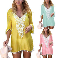 Plus Size Summer Women Beach Wear Lace Crochet Pompom Trim Bikini Cover Up Dress