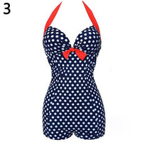 Women One Piece Bathing Suit Dotted Beachwear Push up Swimsuit Plus Size Swimwear