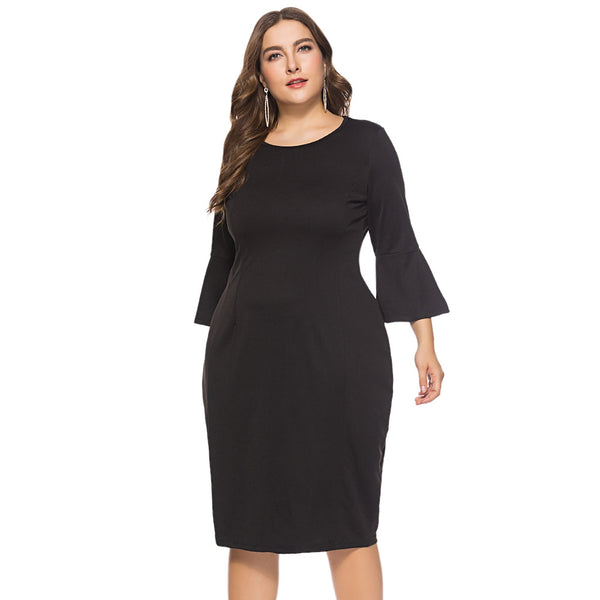 Round Collar 3/4 Bell Sleeve Bodycon Solid Color Plus Size Women Dress
