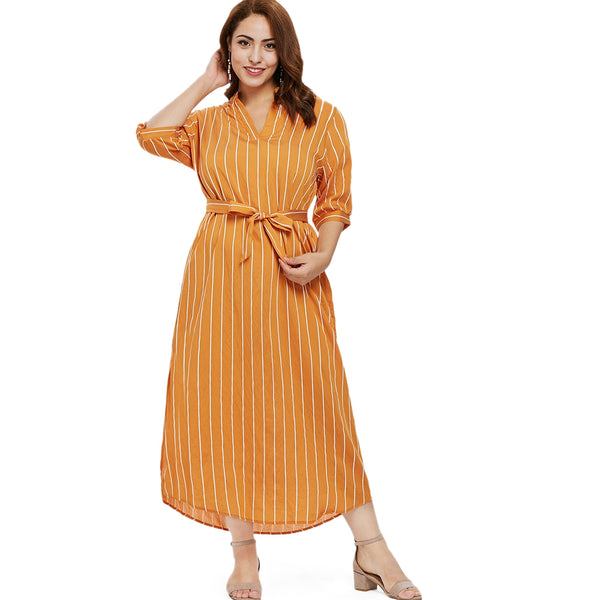 Plus Size Half Sleeve Striped Ankle Length Dress